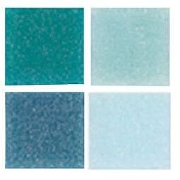 Mosaic Mercantile Authentic Glass Mosaic Tiles, 3/8 Inch, Blue Colors, 1 Pound Bag