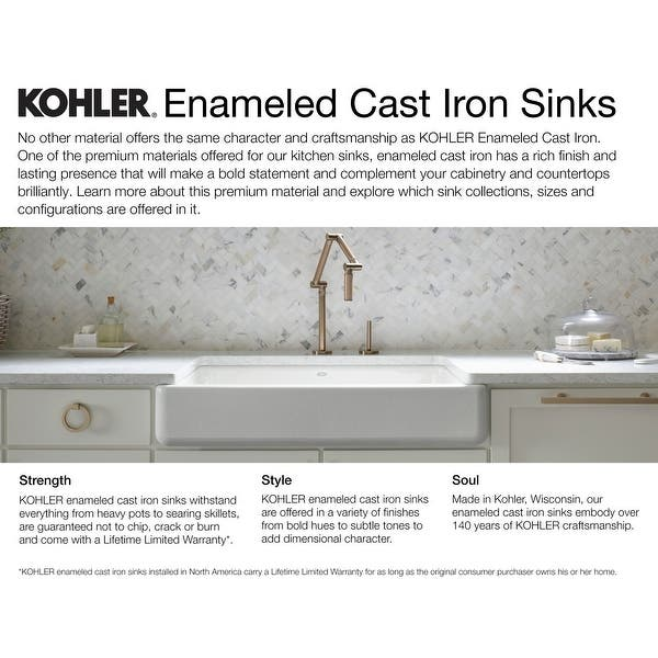 kohler k 5863 4 cape dory 33 single basin top mount enameled cast iron kitchen sink