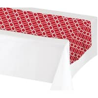 Club Pack of 12 Decorative Classic Red and White Interlocking Circles Design Table Runners 7'