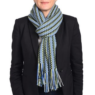 Missoni Women Classic Zig Zag Knit Scarf Shawl Blue, Green and Multi-colors