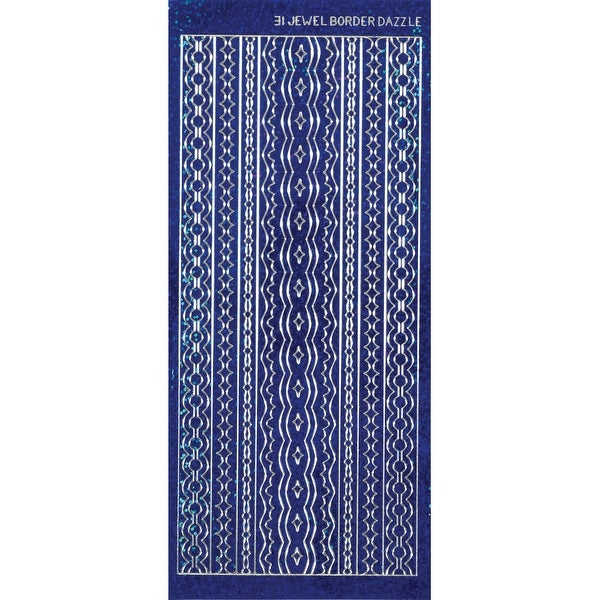 Dazzles Stickers-Jewel Borders-Blue - Blue