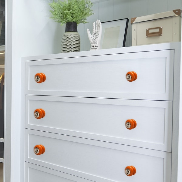 Ceramic Knobs Vintage Round Drawer Pull Handle Cupboard Cabinet Knob Orange