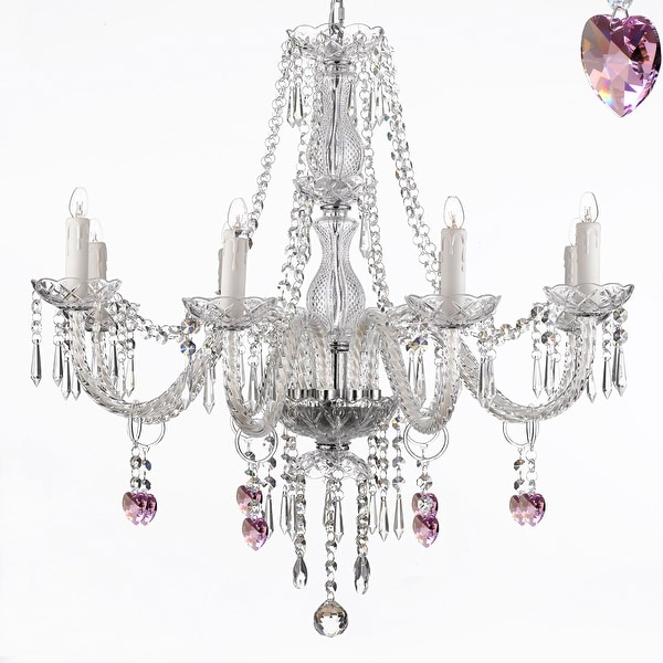 Pink Heart Crystal Chandelier Lighting 8 Light Fixture