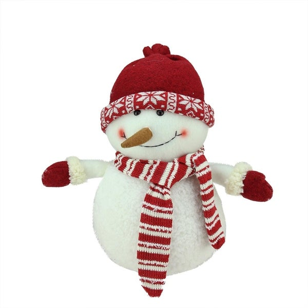 """12.5"""" Ivory, Red and White Chubby Smiling Snowman with Red Cap Plush Table Top Christmas Figure"""