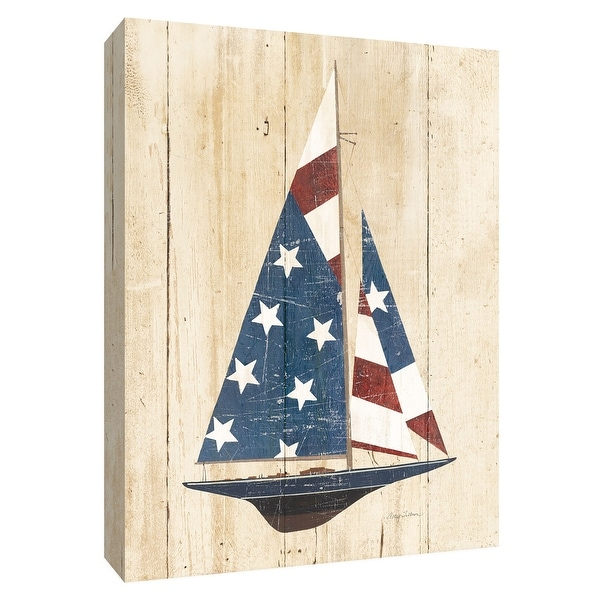 """PTM Images 9-154720 PTM Canvas Collection 10"""" x 8"""" - """"American Flag Sailboat"""" Giclee Sailboats Art Print on Canvas"""