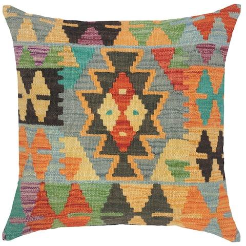 Bohemian Joanne Hand-Woven Turkish Kilim Throw Pillow