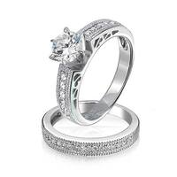 Bling Jewelry Round Solitaire CZ Pave Band Antique Style Anniversary Wedding Ring Set 925 Silver