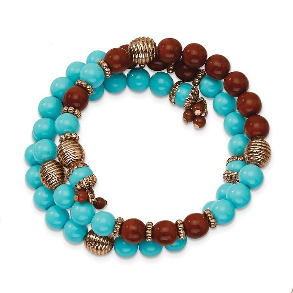 Copper Aqua & Brown Acrylic Beads Wrap Bracelet