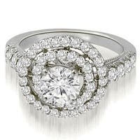 1.65 cttw. 14K White Gold Milgrain Double Halo Round Diamond Engagement Ring