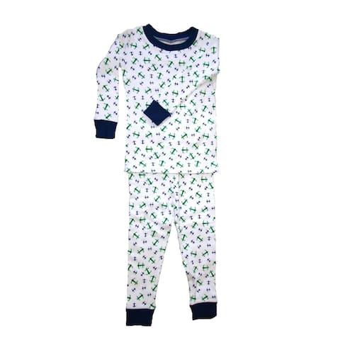 New Jammies Little Boys Blue Anchors Aweigh Cotton 2 Pc Sleepwear Set 2T-7