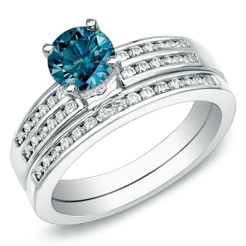 Auriya 14k Gold 1ctw Blue Diamond Engagement Ring Set