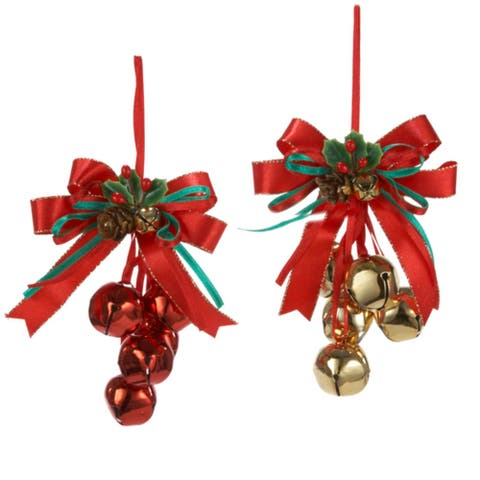 Club Pack of 24 Red and Gold Bells with Ribbon Bow Christmas Ornaments