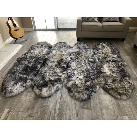"Dynasty Natural 8-Pelt Luxury Long Wool Sheepskin White with Black Tips Shag Rug - 5'5"" x 6'8"""