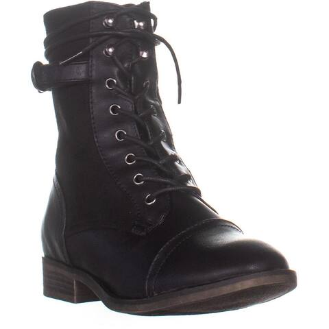 XOXO Carissa Lace-Up Combat Boots, Black