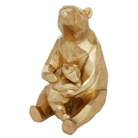 Gold Foil Finished Resin Geometric Mama Bear And Cub Sculpture - 6 x 8 x 10