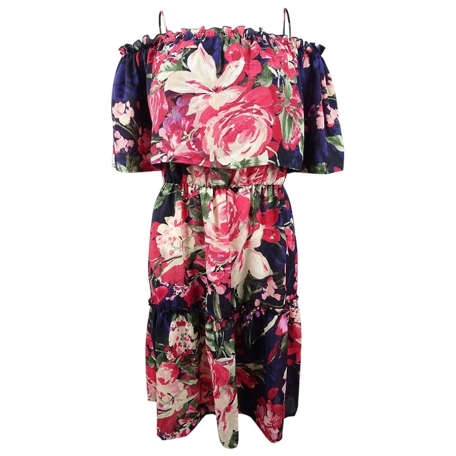 Connected Womens Printed Tiered Off-the-Shoulder Dress - Navy