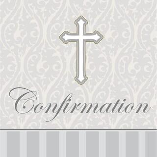 "Club Pack of 192 Devotion ""Confirmation"" Premium 3-Ply Disposable Beverage Napkins 5"""