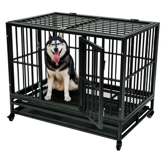 36'' Heavy Duty Metal Dog Cage Crate Pet Trolley with Tray