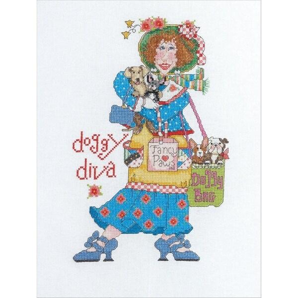 Bucilla Alma Lynne Counted Cross Stitch Kit, 7-Inch by 10-3/4-Inch, Doggy Diva - Blue
