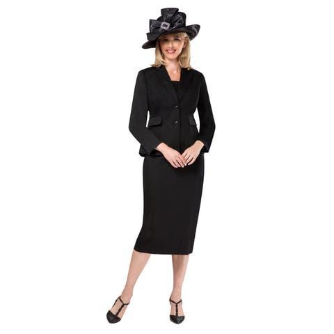 Giovanna Signature Women's 2-pc Black Tweed Fabric Skirt Suit