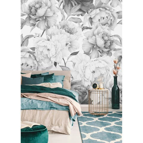 Watercolor Extra Large White Peony Wallpaper Mural