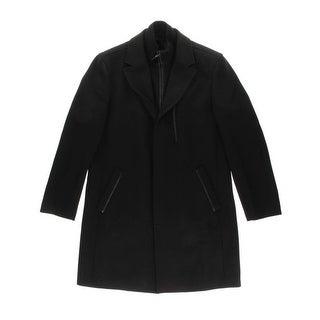 Cole Haan Mens Wool Leather Trim Coat - S