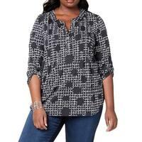 NY Collection Black Women's Size 1X Plus Dot Print Pintuck Blouse