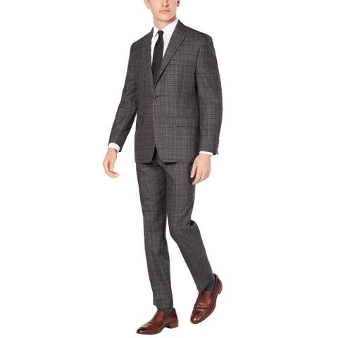 Michael Kors Mens Regular Fit Light Grey Plaid Wool Suit 40 Short Pants 33 Waist