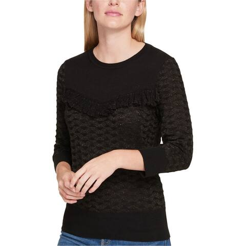 Tommy Hilfiger Womens Ruffled Knit Sweater, Black, X-Large