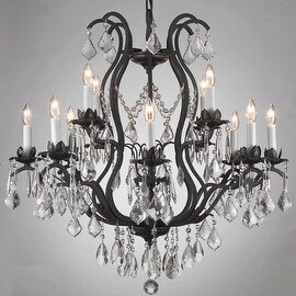Wrought Iron Chandelier Lighting Dressed With Swarovski Crystal Trimmed
