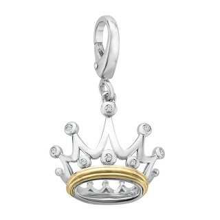 Crown Charm with Diamonds in Sterling Silver & 14K Gold - White