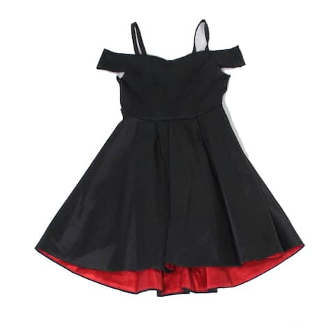 Rare Editions Girls Dresses Black Size 12 Cold-Shoulder Fit N Flare