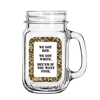 Vintage Glass Mason Jar Cup Mug Lemonade Tea Decor Painted Funny-We got Red. We Got white. Mix'em if you want pink.