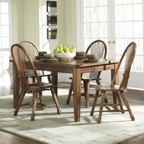 Treasures Rustic Oak 5-piece Sheaf Back Solid Top Dinette Set