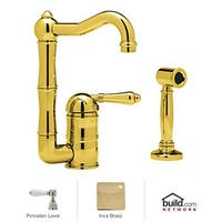 Rohl A3608/6.5LP-2 Country Kitchen Bar Faucet with Porcelain Lever Handle