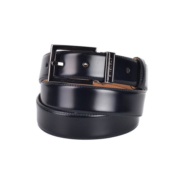 7a3c80b02067f Shop Givenchy Mens Black Leather Polished Square Buckle Belt - Free  Shipping Today - Overstock - 24309314