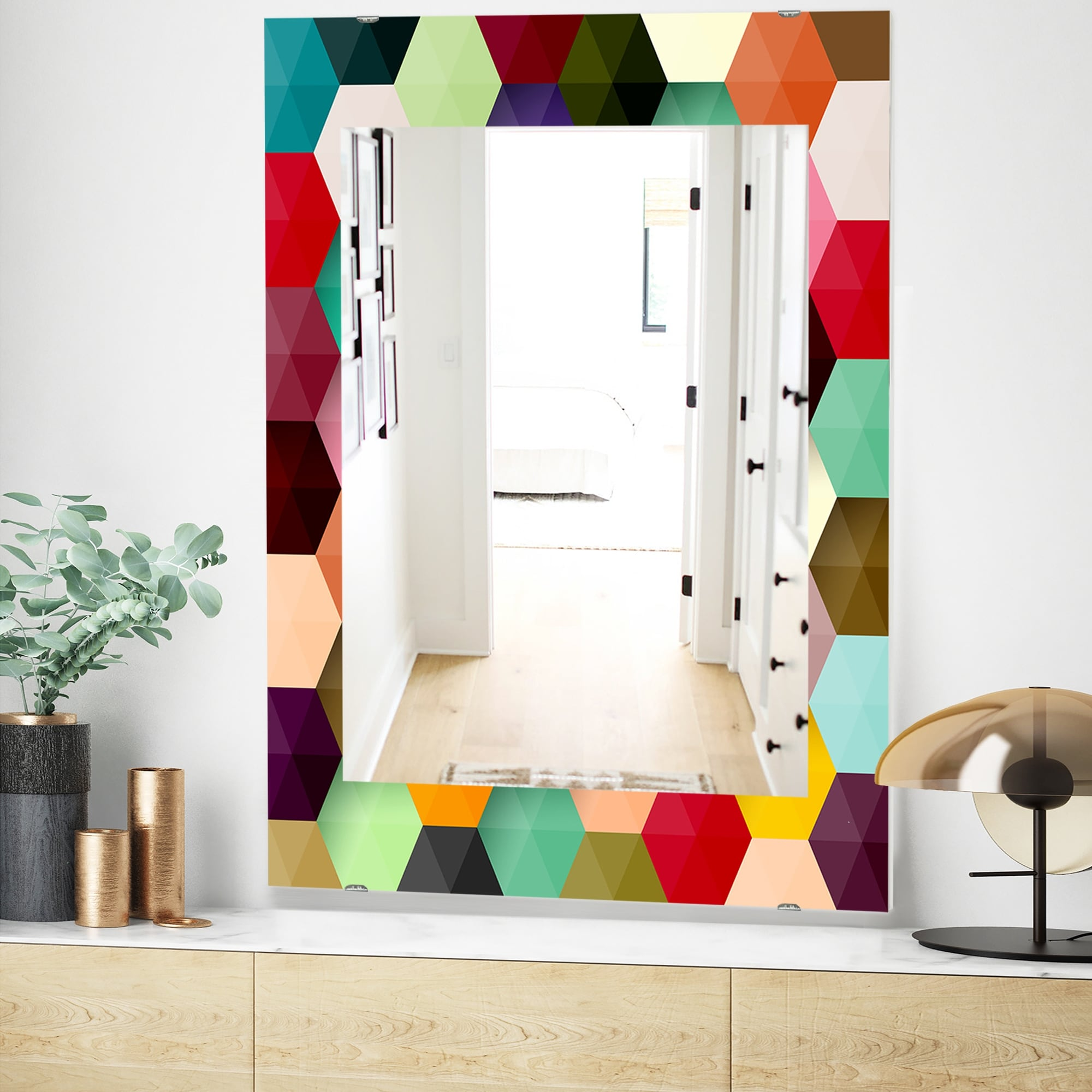 Designart Honeycomb 5 Mid Century Mirror Vanity Mirror Overstock 28559096