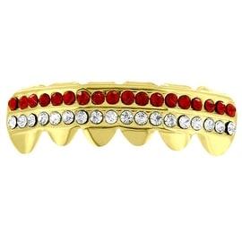 Bottom Teeth Grillz Caps Red White 2 Row Lab Diamonds