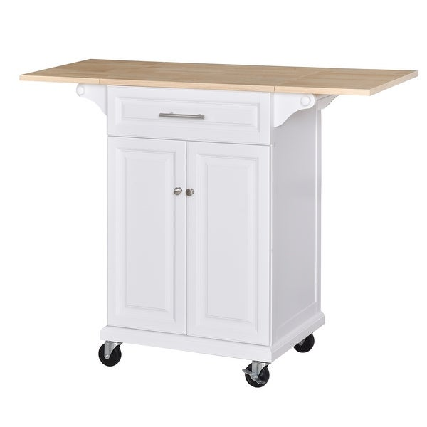 HOMCOM Kitchen Island Cart on Wheels with Extended Counter Drawer Cabinet Towel Racks Versatile Use. Opens flyout.