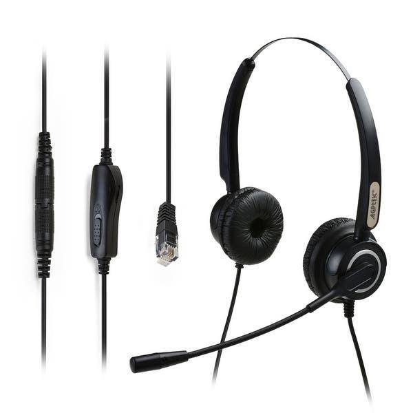 Shop Agptek Hands Free 4 Pin Rj9 Binaural Telephone Headset W Noise Canceling Mic 3 5mm Qd Volume Mute Black Overstock 18795149