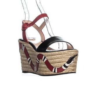 Gucci 453329C9D10 Platform Wedge Sandals, Black/Hibiscus Red - 6 us / 36 eu