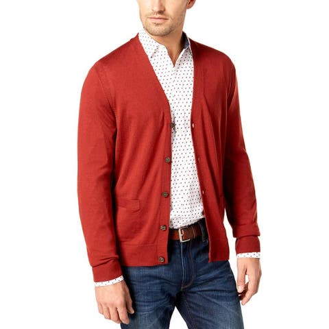 Michael Kors Sienna Red Mens Size Large L Cardigan Wool Sweater