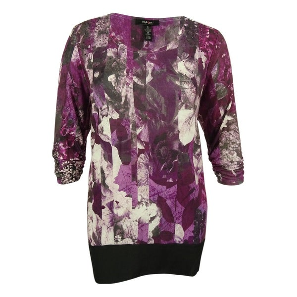 Style & Co. Women's Ruched Sleeve Floral Print Top - staggered floral