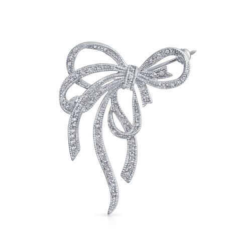 Large CZ Statement Ribbon Pave Cubic Zirconia Wedding Bow Brooch Pin