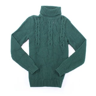 Nautica NEW Green Mens Size Small S Cable Knit Turtleneck Sweater