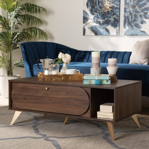 Edel Mid-Century Walnut Brown and Gold Finished Wood Coffee Table