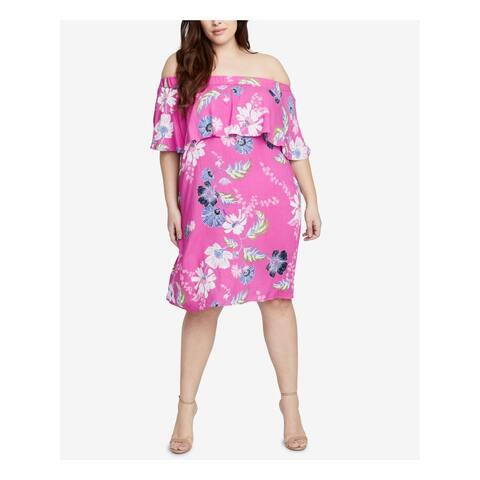 RACHEL ROY Womens Pink Floral Short Sleeve Off Shoulder Knee Length Dress Plus Size: 2X