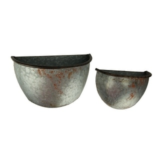 Rustic Metal Half Pot Wall Mounted Hanging Planters Set of 2 - 8.25 X 12.25 X 6.25 inches