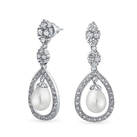 Bridal Pave Halo CZ Teardrop White Dangle Imitation Pearl Earrings Silver Plated