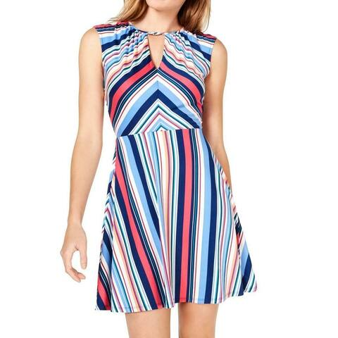 Be bop Junior's Dress Blue Pink Size XS Skater Striped Keyhole Neck